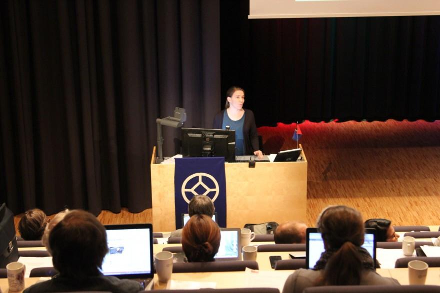 Bilde av Lia Markelin som foreleser.